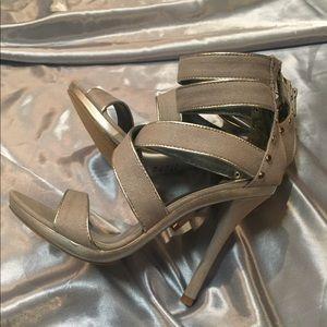 Micheal Antonio women's silver strappy heels